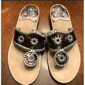 Jack Rogers slipon sandals Silver and bron…